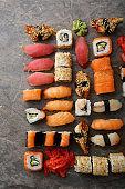 Sushi and nigirin set pattern on slate