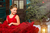 Little winter Princess welcomes New year and Christmas