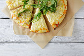 cheeses pizza with arugula