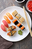 Sushi on plate top view