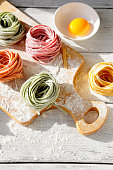 raw homemade color pasta