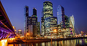 Moscow City - Moscow International Business Center at night, Rus