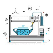 3D Printer lines design vector illustration