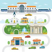 City infographic elements, town vector flat illustration.