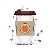 Disposable coffee cup icon with coffee beans, conceptual vector illustration