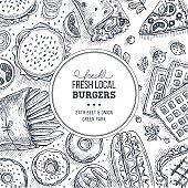 Fast food background. Engraved top view illustration. Vector illustration
