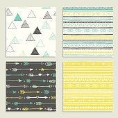 Tribal hand drawn background, ethnic pattern set.