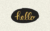 Hello lettering with dot on white background.