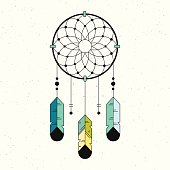 Linear logo dreamcatcher illustration.