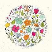 Floral circle with doodles flowers.