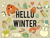 Vector doodle winter symbols.