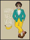 Hipster monkey.  Vector hand drawn illustration.