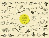Set of hand drawn swirls.