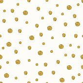 Golden snowfall vector seamless pattern.