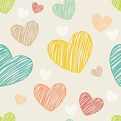 Hearts color hand-drawn vector seamless pattern.
