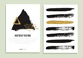 Set of trendy posters with gold glitter texture.