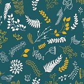 Seamless pattern vintage floral elements.