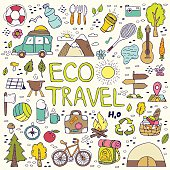 Eco travel element. Hand drawing doodles.