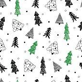 Christmas seamless tree doodles pattern.