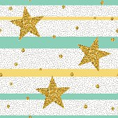 Trendy gold glittering confetti seamless pattern
