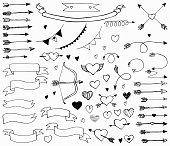 Doodle love set, vector illustration for design.