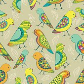 Colorful decorative birds seamless pattern.