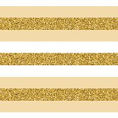 Trendy gold strip vector seamless pattern.