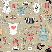Fashion set of woman clothes.