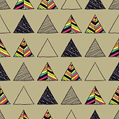 Seamless hand-drawn triangles pattern.