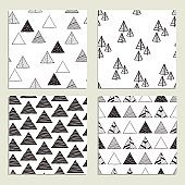 Set of eamless hand-drawn triangles pattern.