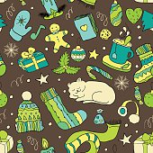 Winter doodle collection. Seamless background.