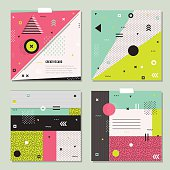 Set of trendy geometric elements memphis cards.