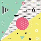 Trendy geometric elements memphis cards.