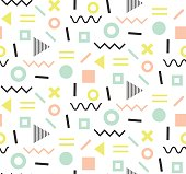 Trendy memphis cards. Abstract seamless pattern.
