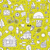 Seamless pattern of camping equipment symbols.