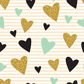 Trendy hearts color vector seamless pattern.