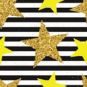 Trendy stars color vector seamless pattern.