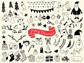Hand draw collection of christmas doodle elements.