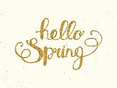 Hello spring lettering  on background.