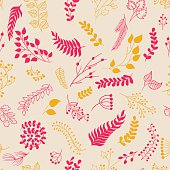 Seamless pattern vintage floral elements.
