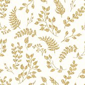 Seamless pattern gold glitter floral elements.