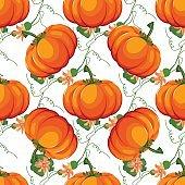 Halloween seamless pattern. Background with pumpkin.