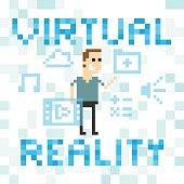 Pixel Art Image Of Man Amongst Virtual Reality Graphics
