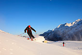 Two Men snow skier skiing   Enjoying on sunny ski resorts