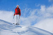 Snow skier  resting at the top