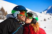Snow Skier Couple