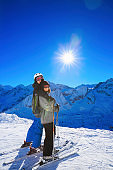 Snow skier - Skiing couple