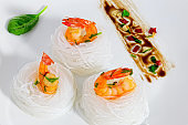 fried shrimps Salad rice Noodle Nest