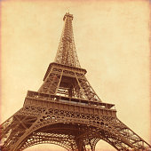 Old style photo of Eiffel Tower.