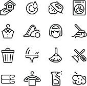 Cleaning Icons Set - Line Series